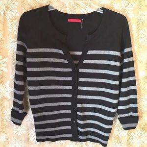 R.E.D Black And Gray Striped Cardigan